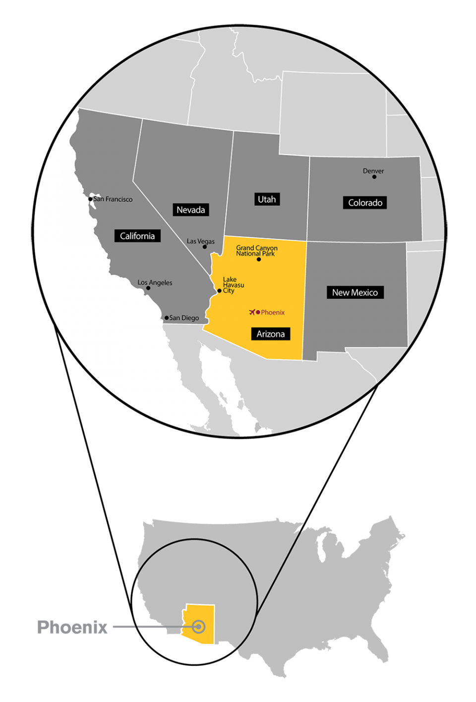Map of the US showing the location of ASU in Arizona