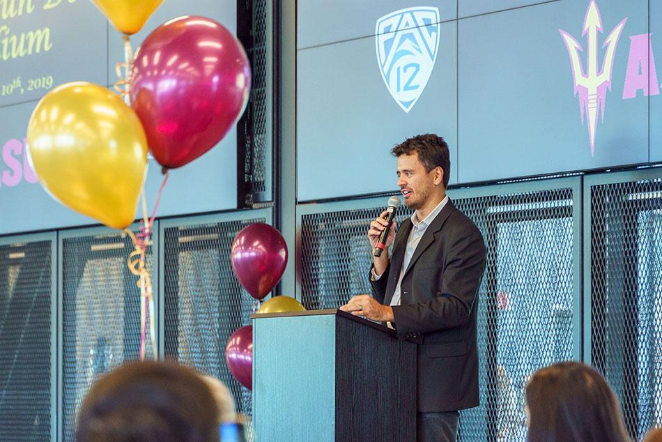 A man speaking at a PAC12 event at ASU