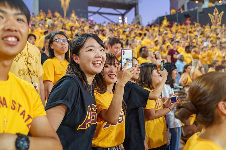 Students at an ASU sporting event